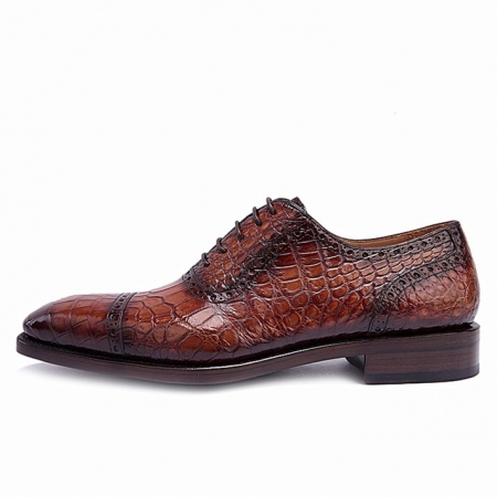 Modern Alligator Cap Toe Oxford Formal Lace-up Dress Shoes-Side
