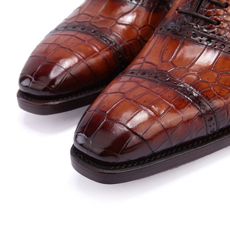 Modern Alligator Cap Toe Oxford Formal Lace-up Dress Shoes-Toe
