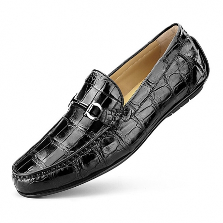 Alligator Driving Style Moccasin Shoes Penny Loafers-Black