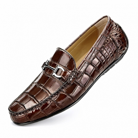 Alligator Driving Style Moccasin Shoes Penny Loafers-Brown