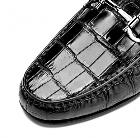 Alligator Driving Style Moccasin Shoes Penny Loafers-Details-1