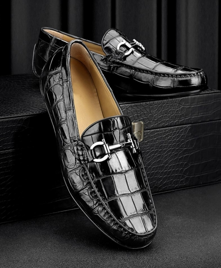 Alligator Driving Style Moccasin Shoes Penny Loafers for Men-Black