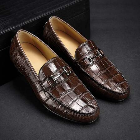 Alligator Driving Style Moccasin Shoes Penny Loafers for Men-Brown